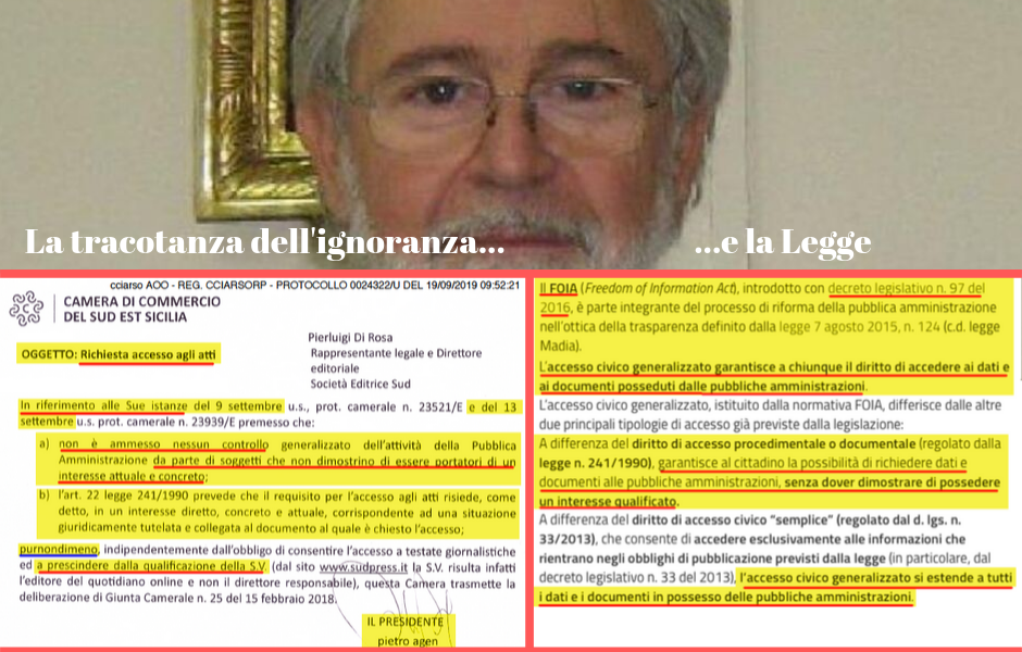 Camera di Commercio: il presidente Agen sconosce la legge e nasconde documenti...che lo riguardano